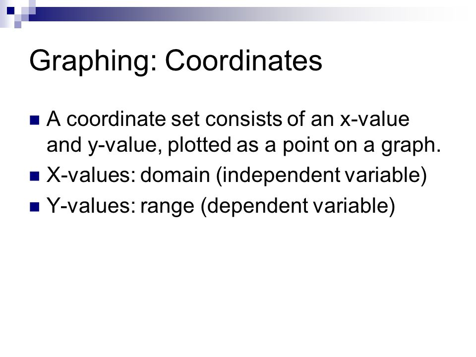 Graphing: Coordinates A coordinate set consists of an x-value and y-value, plotted as a point on a graph.