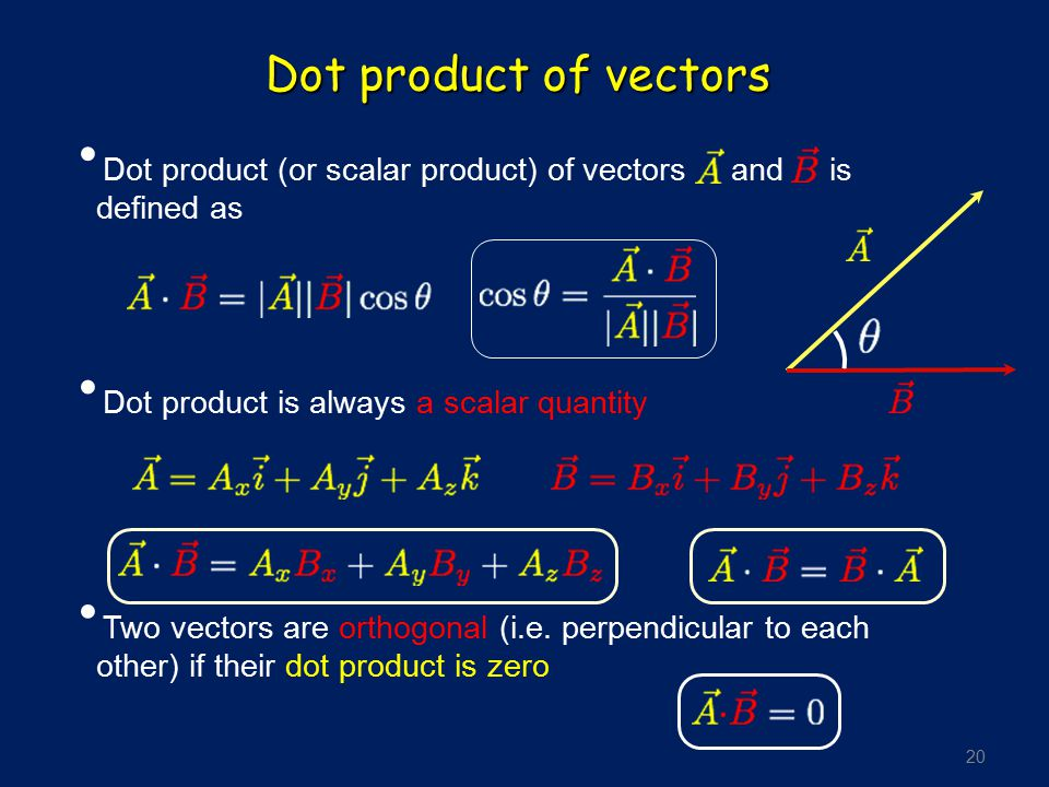 20 Dot product of vectors Dot product (or scalar product) of vectors and is defined as Dot product is always a scalar quantity Two vectors are orthogo