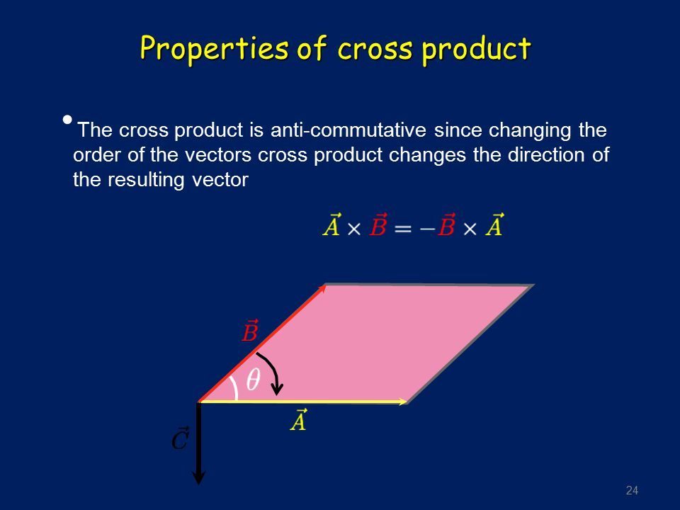 24 Properties of cross product The cross product is anti-commutative since changing the order of the vectors cross product changes the direction of th