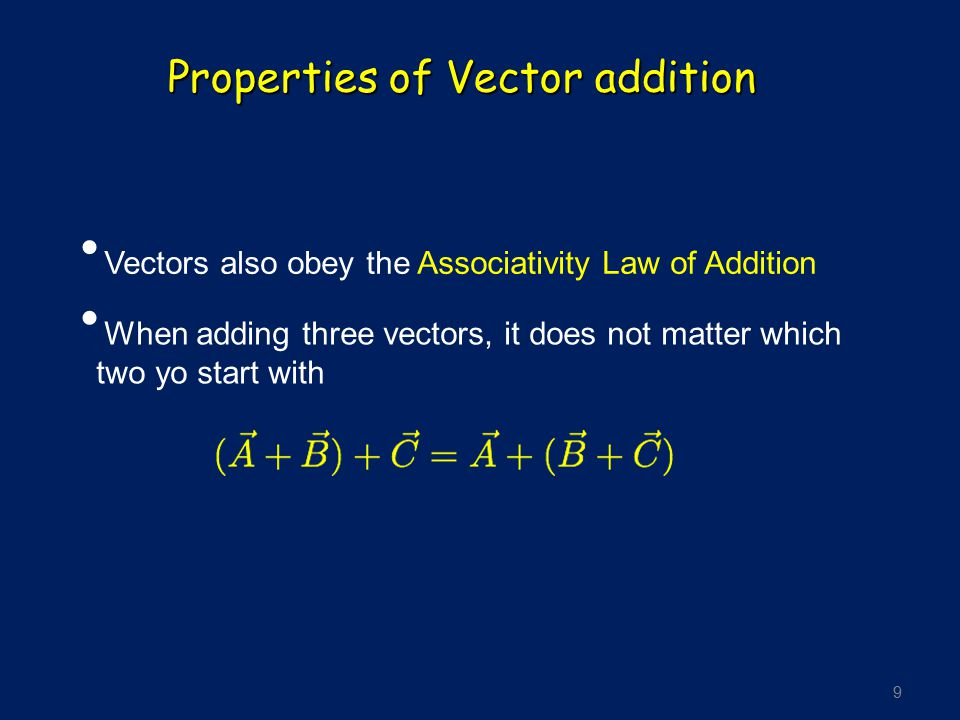 9 Properties of Vector addition Vectors also obey the Associativity Law of Addition When adding three vectors, it does not matter which two yo start w