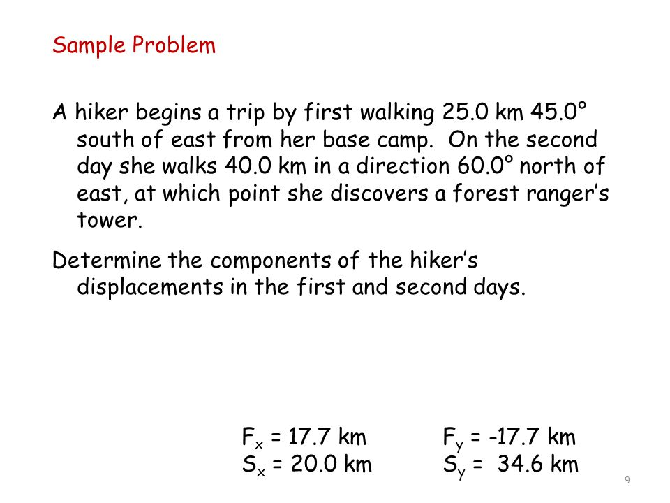 9 Sample Problem A hiker begins a trip by first walking 25.0 km 45.0° south of east from her base camp.