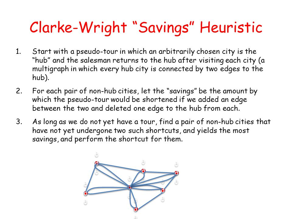 Clarke-Wright Savings Heuristic 1.Start with a pseudo-tour in which an arbitrarily chosen city is the hub and the salesman returns to the hub after visiting each city (a multigraph in which every hub city is connected by two edges to the hub).