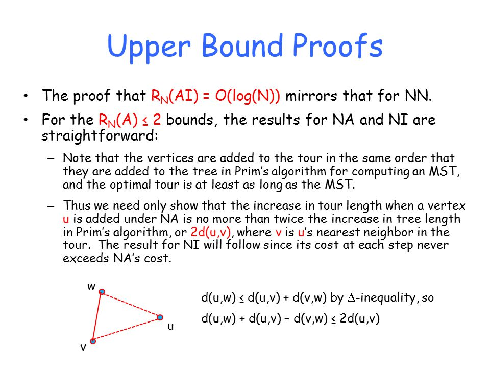 Upper Bound Proofs The proof that R N (AI) = O(log(N)) mirrors that for NN.