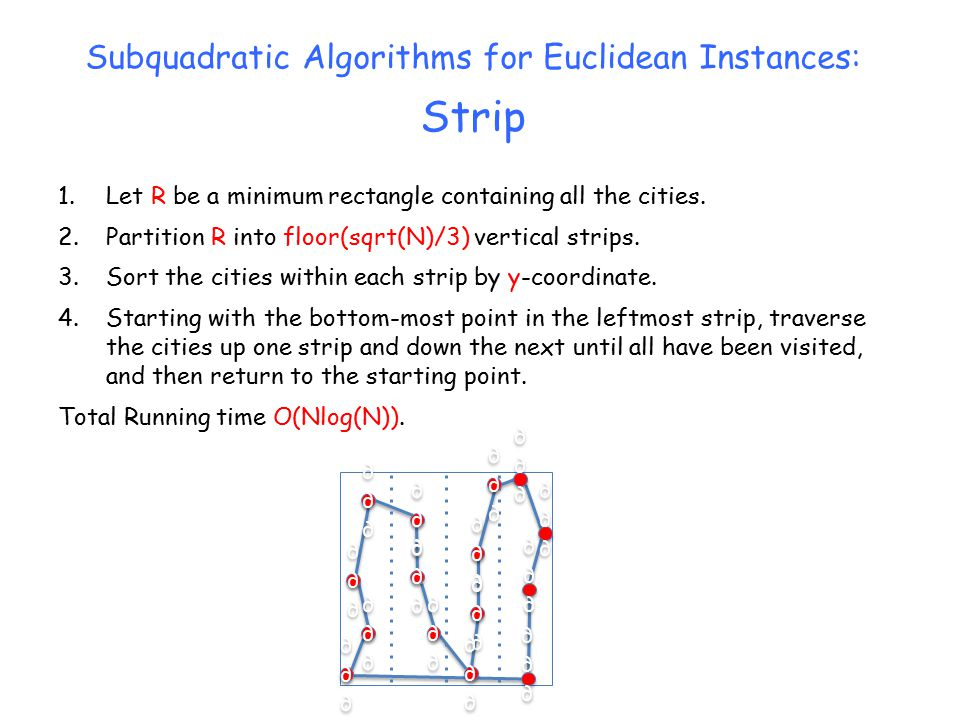 Subquadratic Algorithms for Euclidean Instances: Strip 1.Let R be a minimum rectangle containing all the cities.