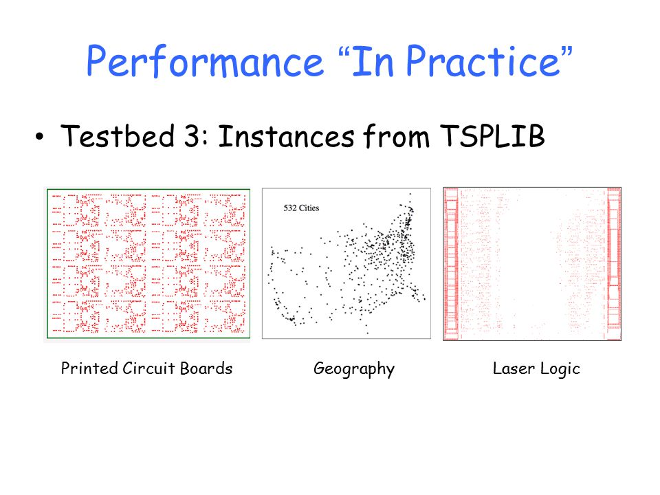Performance In Practice Testbed 3: Instances from TSPLIB Printed Circuit BoardsGeographyLaser Logic