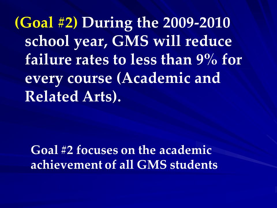 (Goal #2) During the 2009-2010 school year, GMS will reduce failure rates to less than 9% for every course (Academic and Related Arts). Goal #2 focuse