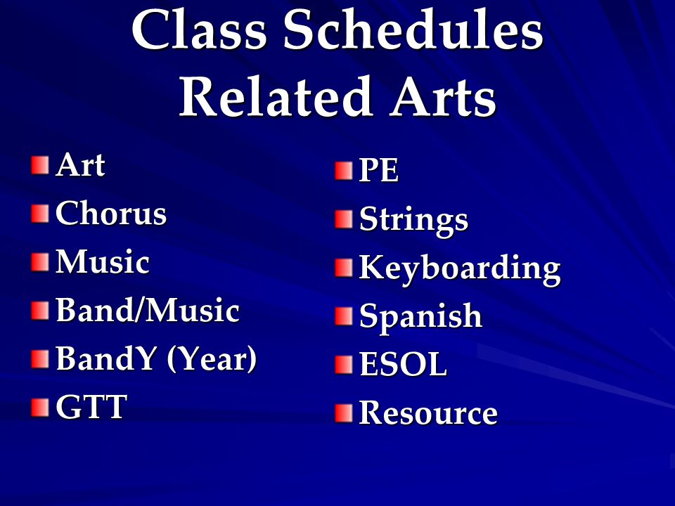 Class Schedules Related Arts ArtChorusMusicBand/Music BandY (Year) GTT PEStringsKeyboardingSpanishESOLResource
