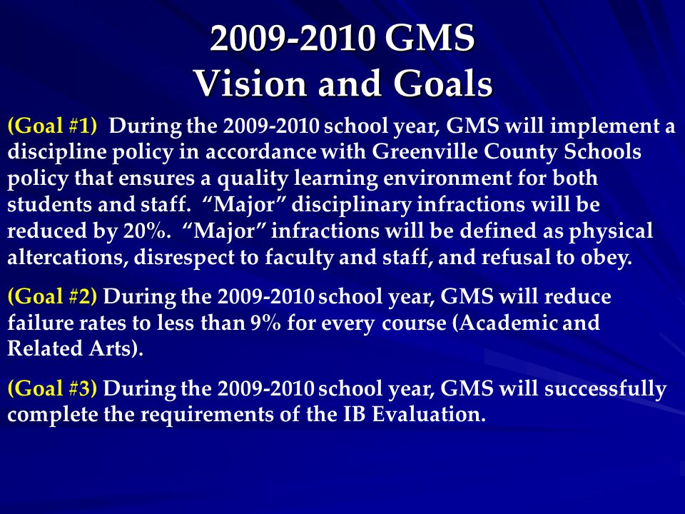 2009-2010 GMS Vision and Goals (Goal #1) During the 2009-2010 school year, GMS will implement a discipline policy in accordance with Greenville County