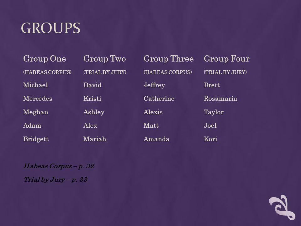 GROUPS Group OneGroup TwoGroup ThreeGroup Four (HABEAS CORPUS)(TRIAL BY JURY)(HABEAS CORPUS)(TRIAL BY JURY) MichaelDavidJeffreyBrett MercedesKristiCat