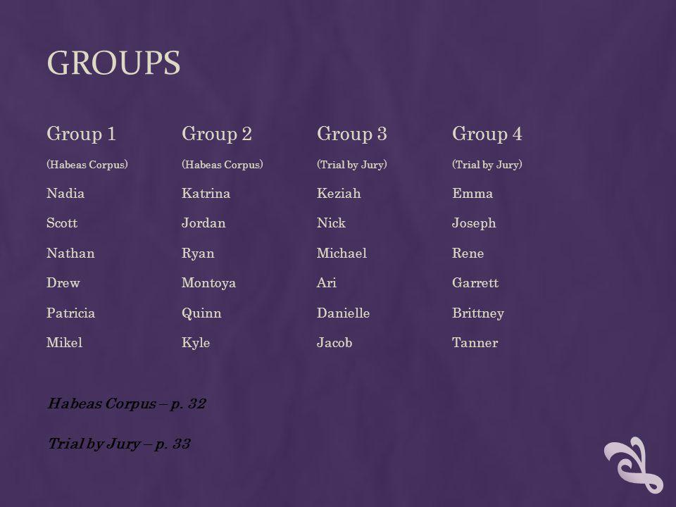 GROUPS Group 1Group 2Group 3Group 4 (Habeas Corpus)(Habeas Corpus)(Trial by Jury)(Trial by Jury) NadiaKatrinaKeziahEmma Scott JordanNickJoseph NathanR