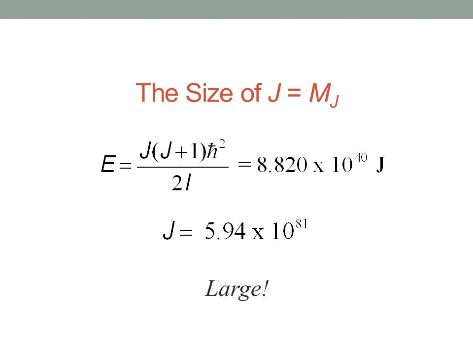 The Size of J = M J Large!