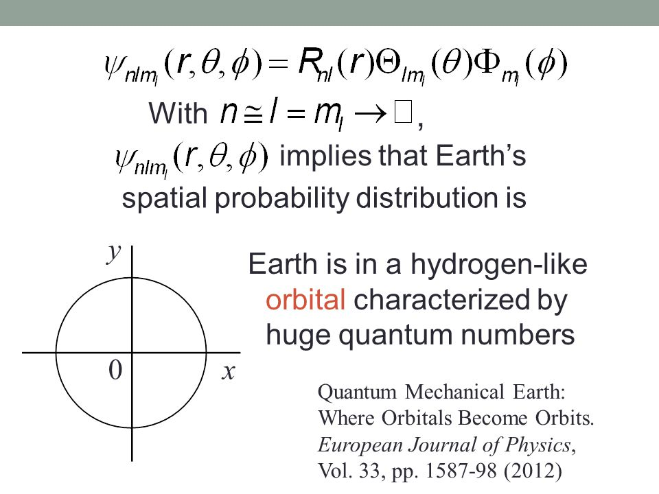 With, implies that Earth's spatial probability distribution is y 0x Earth is in a hydrogen-like orbital characterized by huge quantum numbers Quantum Mechanical Earth: Where Orbitals Become Orbits.
