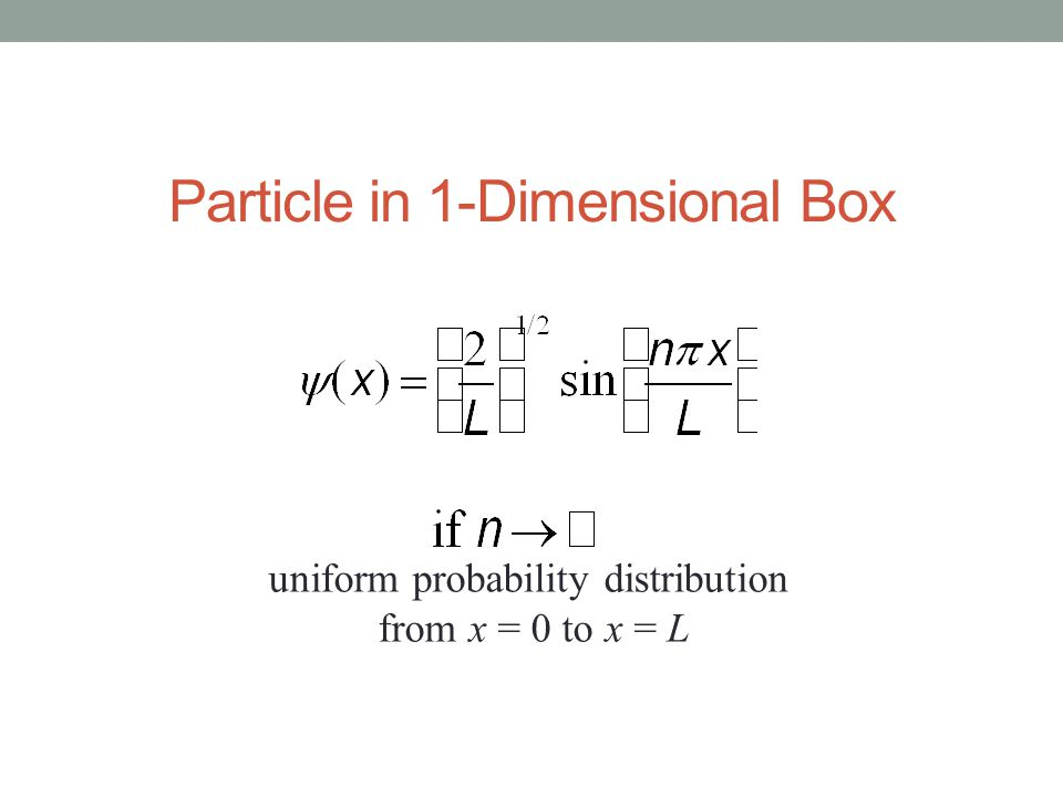 Particle in 1-Dimensional Box uniform probability distribution from x = 0 to x = L