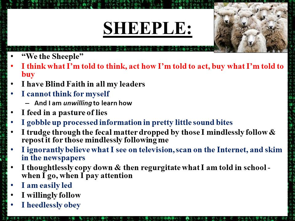 SHEEPLE: We the Sheeple I think what I'm told to think, act how I'm told to act, buy what I'm told to buy I have Blind Faith in all my leaders I cannot think for myself – And I am unwilling to learn how I feed in a pasture of lies I gobble up processed information in pretty little sound bites I trudge through the fecal matter dropped by those I mindlessly follow & repost it for those mindlessly following me I ignorantly believe what I see on television, scan on the Internet, and skim in the newspapers I thoughtlessly copy down & then regurgitate what I am told in school - when I go, when I pay attention I am easily led I willingly follow I heedlessly obey