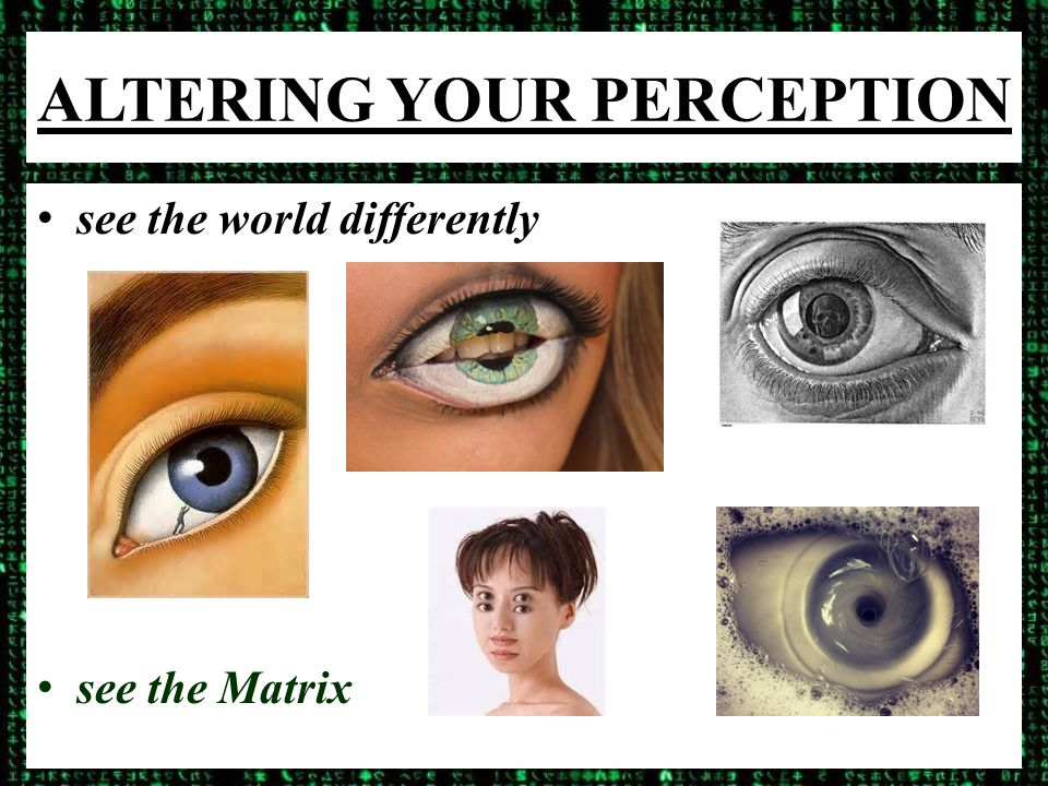 ALTERING YOUR PERCEPTION see the world differently see the Matrix