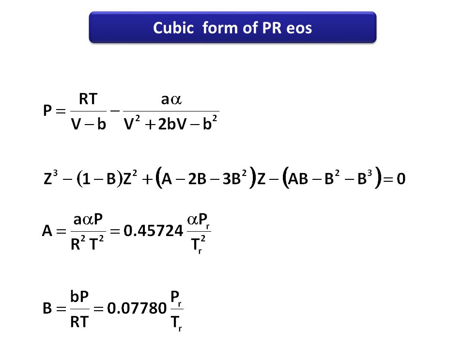 Cubic form of PR eos