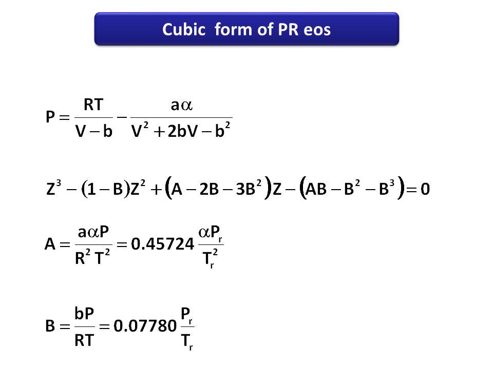 Cubic form of PR eos