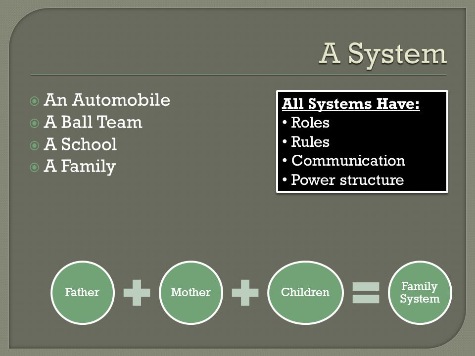  An Automobile  A Ball Team  A School  A Family FatherMotherChildren Family System All Systems Have: Roles Rules Communication Power structure All Systems Have: Roles Rules Communication Power structure
