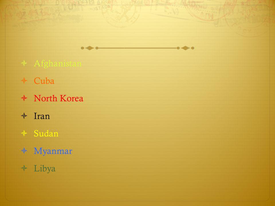  Afghanistan  Cuba  North Korea  Iran  Sudan  Myanmar  Libya