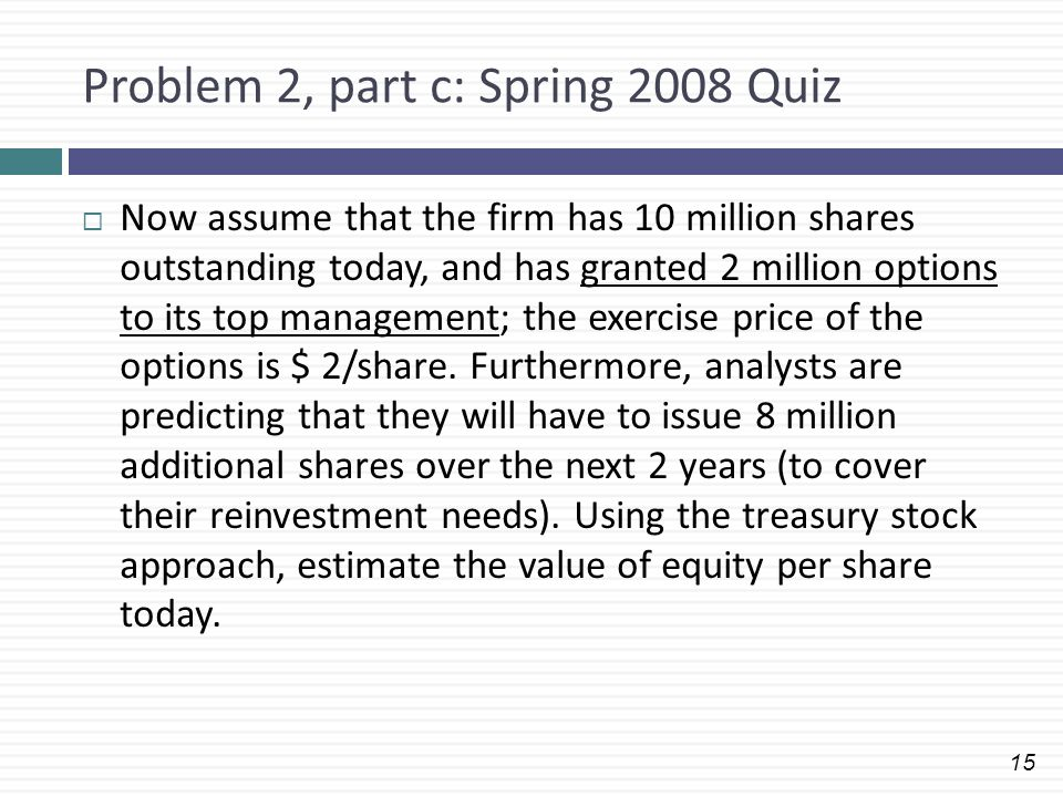 15 Problem 2, part c: Spring 2008 Quiz  Now assume that the firm has 10 million shares outstanding today, and has granted 2 million options to its to
