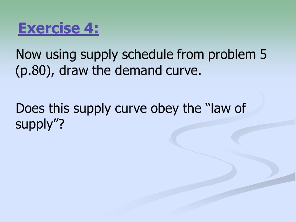 Exercise 4: Now using supply schedule from problem 5 (p.80), draw the demand curve.