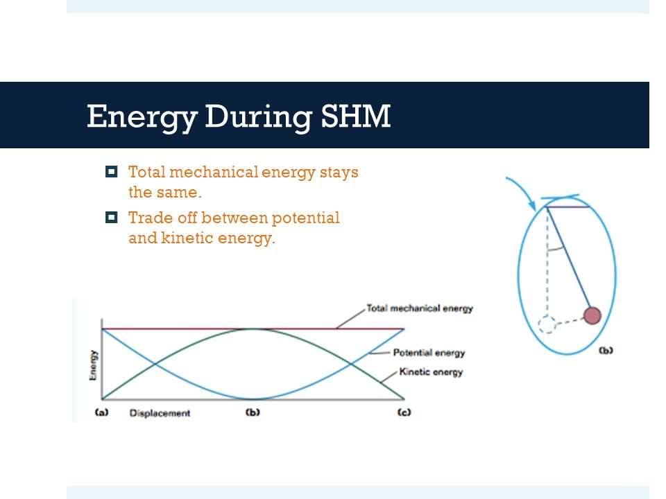 Energy During SHM  Total mechanical energy stays the same.