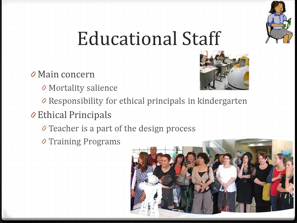 0 Main concern 0 Mortality salience 0 Responsibility for ethical principals in kindergarten 0 Ethical Principals 0 Teacher is a part of the design pro