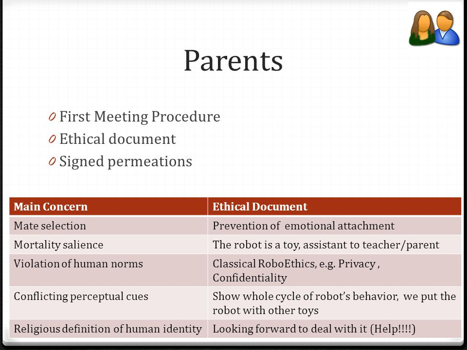 Parents 0 First Meeting Procedure 0 Ethical document 0 Signed permeations Main ConcernEthical Document Mate selectionPrevention of emotional attachmen