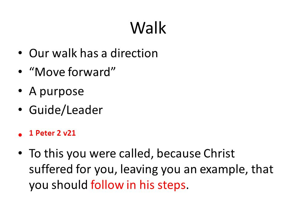 Walk Our walk has a direction Move forward A purpose Guide/Leader 1 Peter 2 v21 To this you were called, because Christ suffered for you, leaving you an example, that you should follow in his steps.