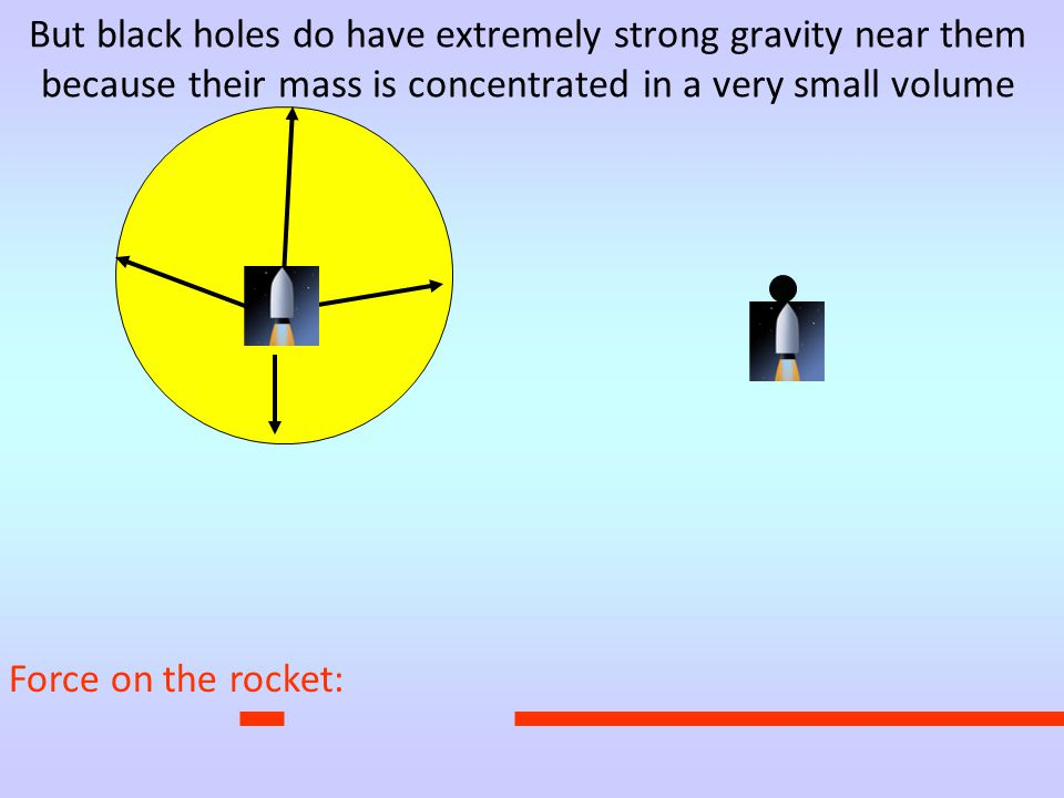 Force on the rocket: But black holes do have extremely strong gravity near them because their mass is concentrated in a very small volume