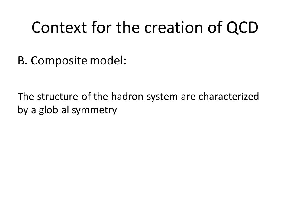 Context for the creation of QCD B.