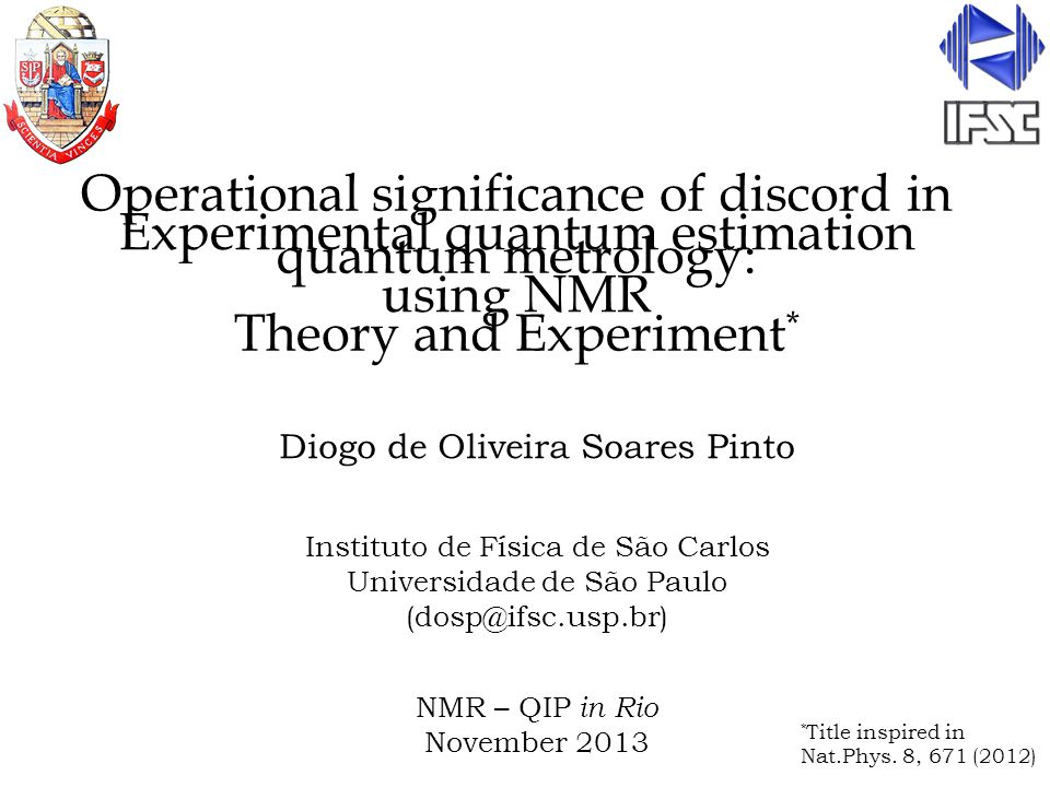 Outline: 1)(Very brief) Introduction to quantum metrology 2)Results: Theory 3)Result: Experiment 4)Conclusions