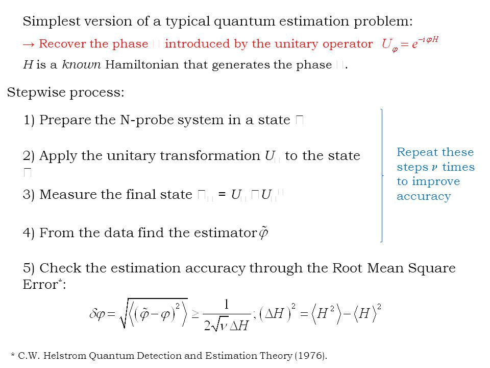 Simplest version of a typical quantum estimation problem: → Recover the phase  introduced by the unitary operator H is a known Hamiltonian that generates the phase .