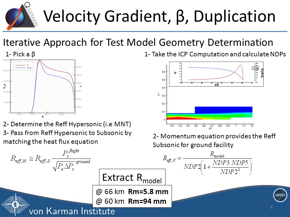 8 Iterative Approach for Test Model Geometry Determination 1- Pick a β 2- Determine the Reff Hypersonic (i.e MNT) 3- Pass from Reff Hypersonic to Subsonic by matching the heat flux equation 1- Take the ICP Computation and calculate NDPs 2- Momentum equation provides the Reff Subsonic for ground facility Extract R model Velocity Gradient, β, Duplication @ 66 km Rm=5.8 mm @ 60 km Rm=94 mm