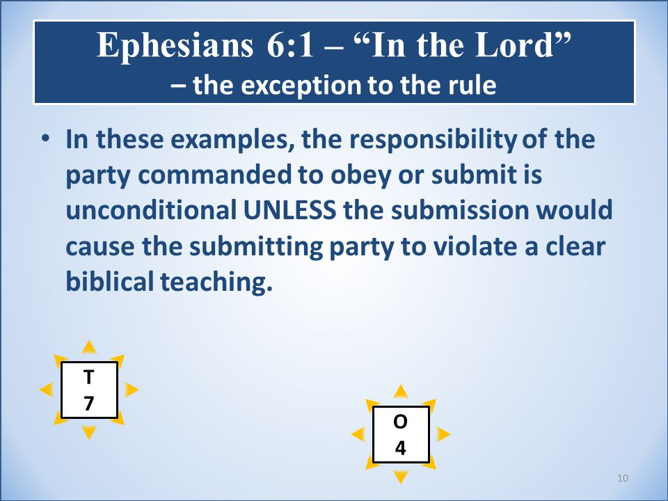 Ephesians 6:1 – In the Lord – the exception to the rule In these examples, the responsibility of the party commanded to obey or submit is unconditional UNLESS the submission would cause the submitting party to violate a clear biblical teaching.