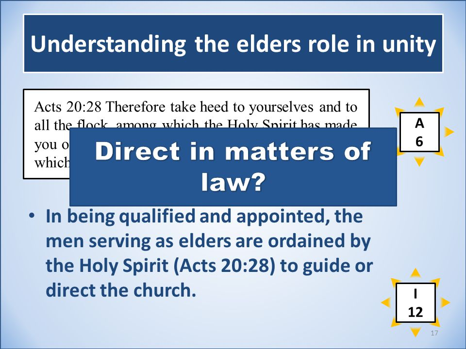 Understanding the elders role in unity In being qualified and appointed, the men serving as elders are ordained by the Holy Spirit (Acts 20:28) to guide or direct the church.