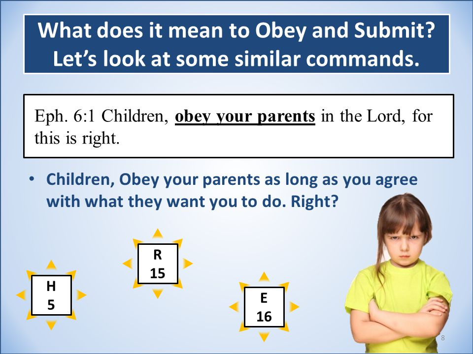 What does it mean to Obey and Submit.Let's look at some similar commands.