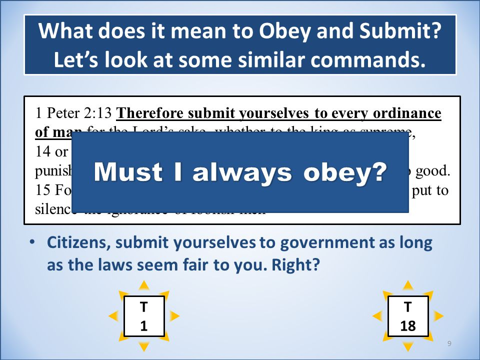 What does it mean to Obey and Submit? Let's look at some similar commands. Citizens, submit yourselves to government as long as the laws seem fair to