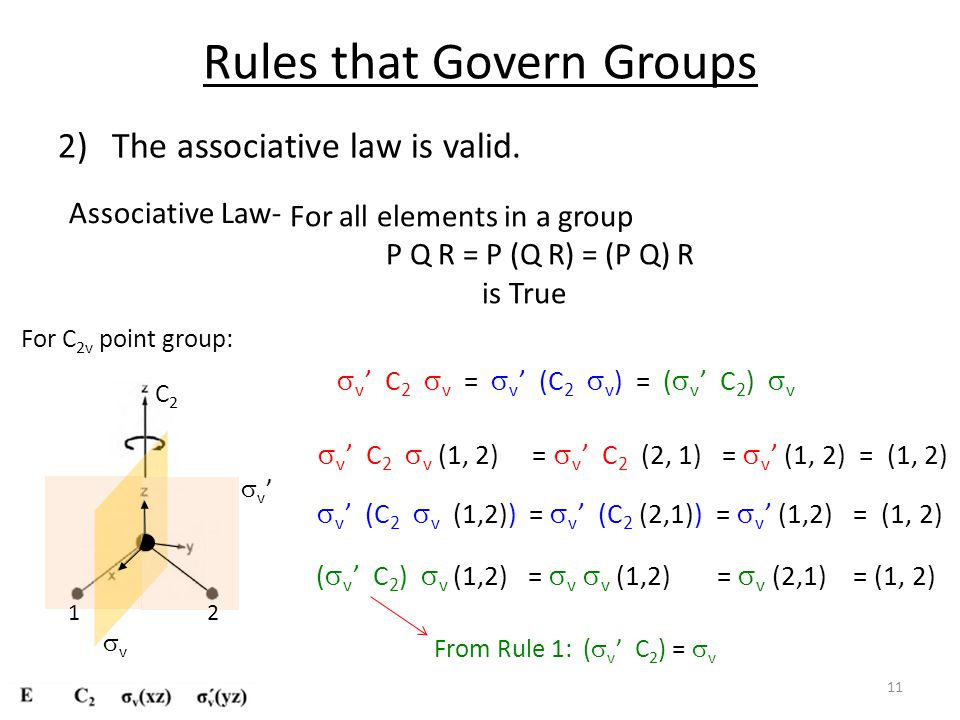 Rules that Govern Groups 2)The associative law is valid.