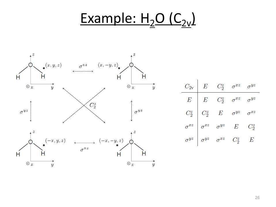 Example: H 2 O (C 2v ) 26