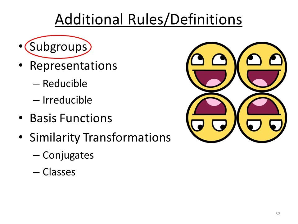 Subgroups Representations – Reducible – Irreducible Basis Functions Similarity Transformations – Conjugates – Classes Additional Rules/Definitions 32