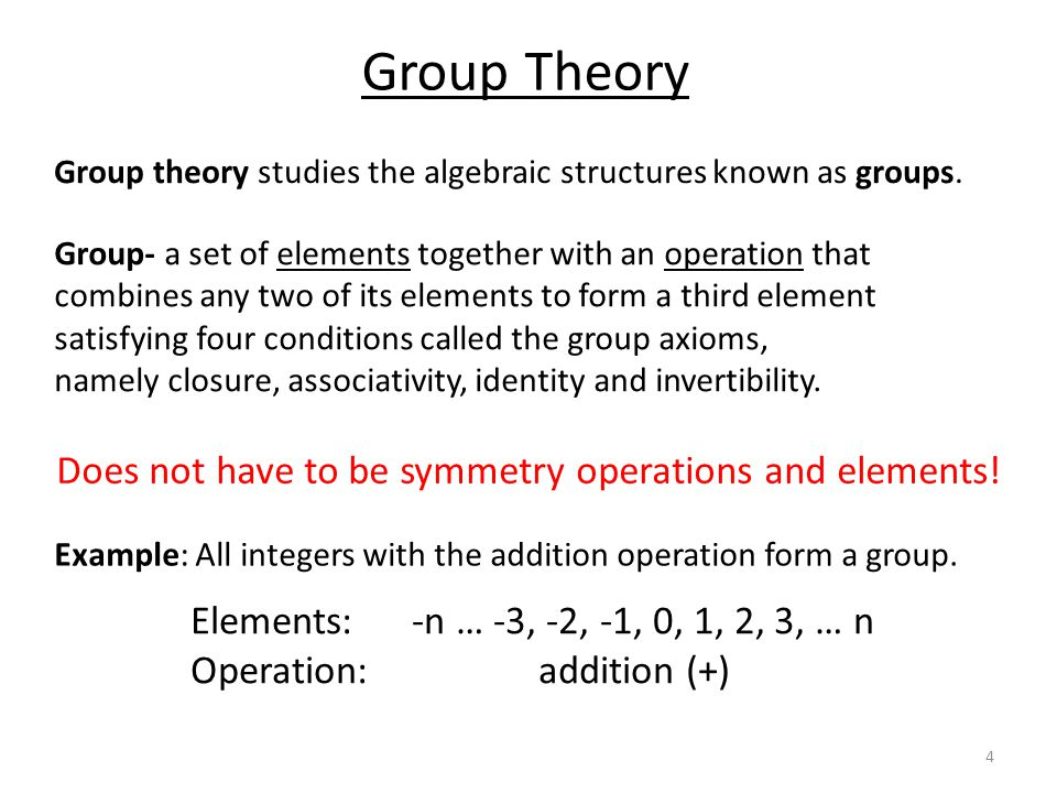 Group Theory History Early 1800s- Évariste Galois (1811-1832) realized that the algebraic solution to a polynomial equation is related to the structure of a group of permutations associated with the roots of the polynomial, the Galois group of the polynomial.