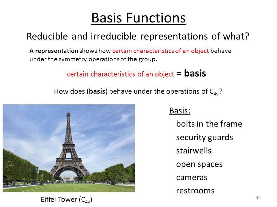 Basis Functions Eiffel Tower (C 4v ) Reducible and irreducible representations of what.