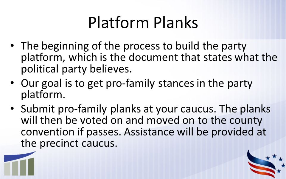 The beginning of the process to build the party platform, which is the document that states what the political party believes.