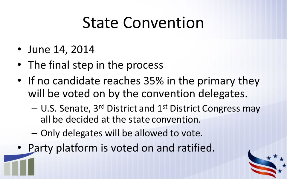 State Convention June 14, 2014 The final step in the process If no candidate reaches 35% in the primary they will be voted on by the convention delegates.