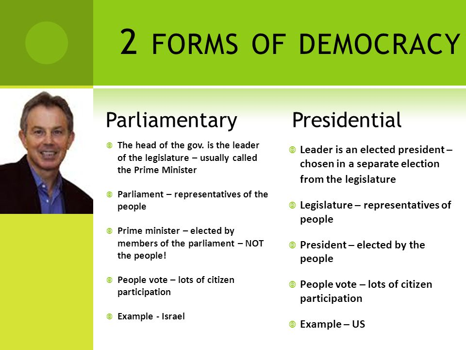 2 FORMS OF DEMOCRACY Parliamentary  The head of the gov. is the leader of the legislature – usually called the Prime Minister  Parliament – represen
