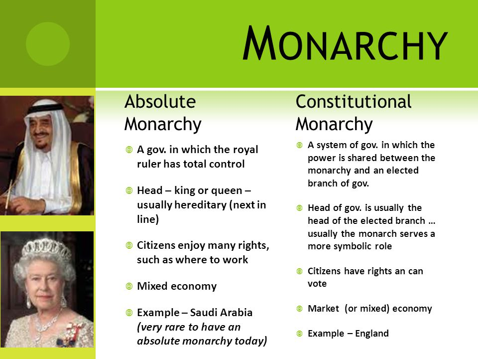 M ONARCHY Absolute Monarchy  A gov.