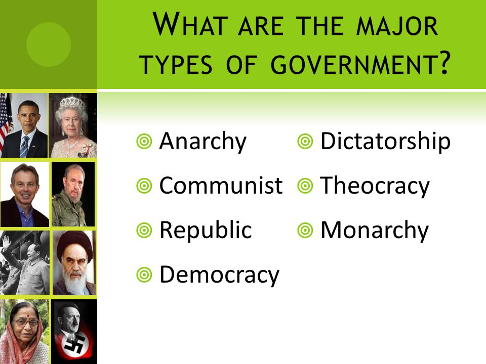 W HAT ARE THE MAJOR TYPES OF GOVERNMENT ?  Anarchy  Communist  Republic  Democracy  Dictatorship  Theocracy  Monarchy