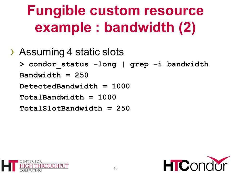 › Assuming 4 static slots > condor_status –long | grep –i bandwidth Bandwidth = 250 DetectedBandwidth = 1000 TotalBandwidth = 1000 TotalSlotBandwidth = 250 Fungible custom resource example : bandwidth (2) 40