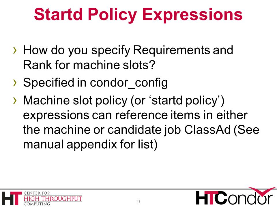 › How do you specify Requirements and Rank for machine slots.
